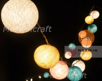 20 Cotton Balls Pastel Tone Fairy String Lights Cute Baby Party Patio Wedding Floor Table Hanging Gift for her Home Decor Living Bedroom