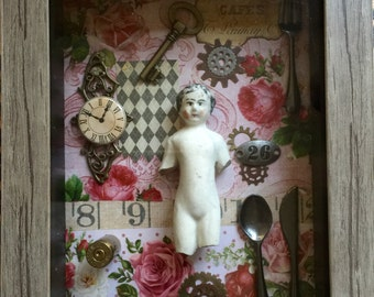 Rose Colored Symphony VICTORIAN Mixed Media VINTAGE Inspired Doll Shadow Box ETSY Altered Frozen Charlotte Doll Shadowbox Art ALtered Art