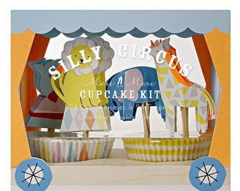 Silly Circus Cupcake Kit- 24 cupcake liners & 24 toppers