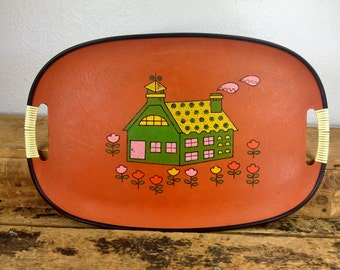 Midcentury Brown Tray Colorful Home Made in Japan