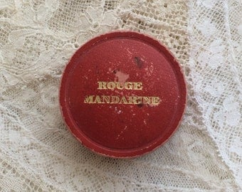 Antique Bourgeois Makeup Box With Original Blush Darling Collectable Shabby Chic Tattered Paris Apartment Boudoir Decor Rouge Mandarine