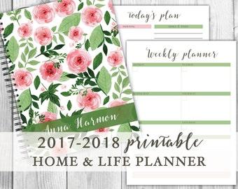 2017-2018 Printable Planner / Home Binder Set / Home Management / Household Binder - 2017 / 2018 Calendar / Life Planner
