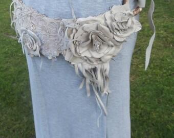 Leather Lace Fringe and  Flower Belt