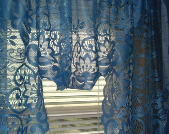 "Vivid Blue Scalloped Lace Curtain Valance 58"" x 33"""