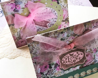 Unique Handmade cards: Love cards - romantic cards - friends forever - roses - rose cards - pink roses - pink bows