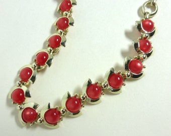 Vintage 1950's Deco Gold Crescent and Red Circle Moonglow Plastic Adjustable Collar Necklace