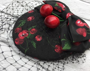 Cherry Fascinator Rockabilly Pinup style