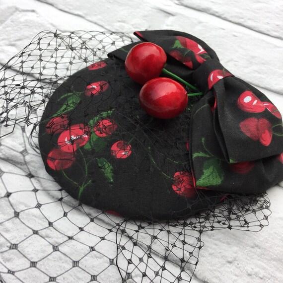 Cherry Fascinator Rockabilly Pinup style