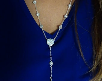 Rhinestone rosary. Sterling silver 10 beads rosary.