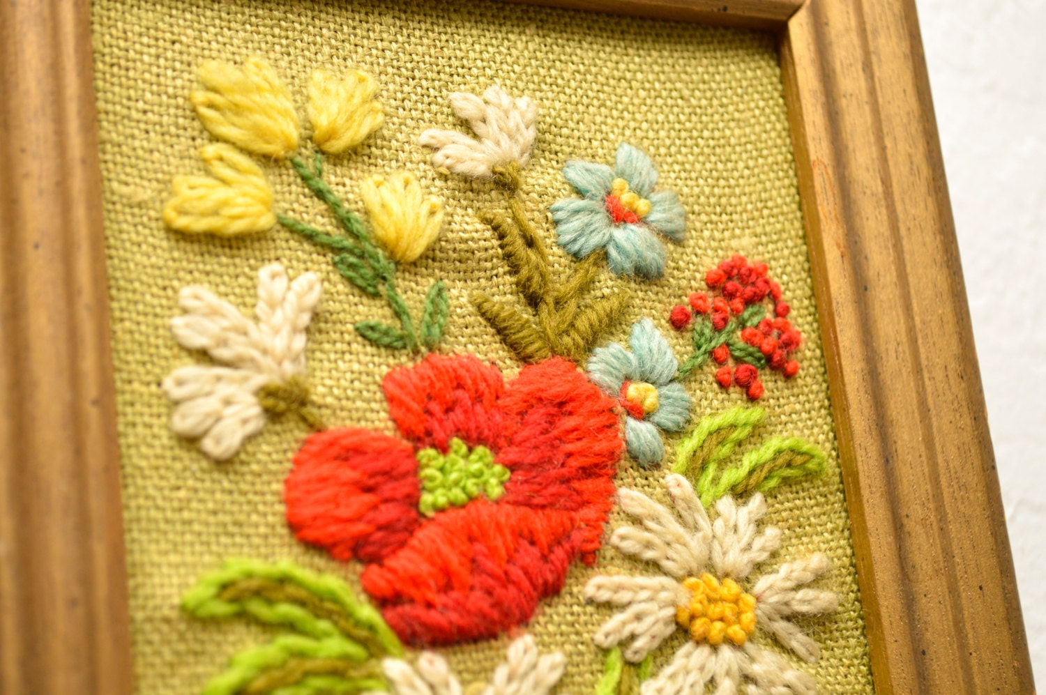 70s Embroidered Wall Art Flowers Yarn Kitsch Brown Floral Small ...