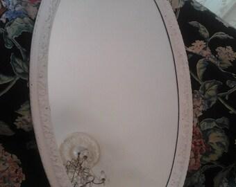 Vintage shabby chic oval ruffle mirror