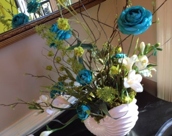 TURQUOISE FLORAL ARRANGEMENT, Ivory Shell Container, Accent Arrangement, Table Arrangement, 24in. Tall x 16In. wide