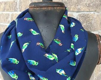 Blue Birds of Happiness Infinity loop scarf birds lovingly handmade in Montreal, Qc Canada Birds of a Feather Bluebird Green Bird Blue