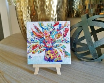 Flowers and Vase Mini Painting with wooden easel. Textured, colorful abstract flowers. Free Shipping