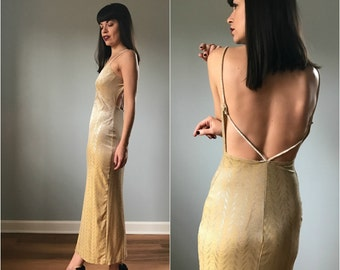 Vintage 90s Gold Velvet Backless Maxi