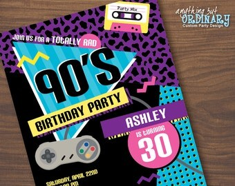 90s Birthday Party Invitation, 1990s Flashback Party Invites, Printable 90s Party, digital file