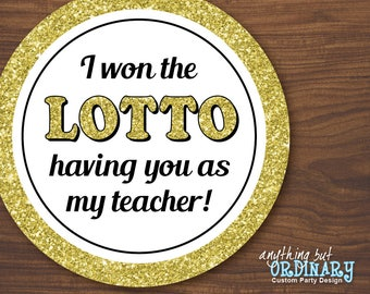 Won the Lotto Gift Tags, Printable Favor Labels for Staff/Co-worker/Teacher Appreciation, INSTANT DOWNLOAD, digital file