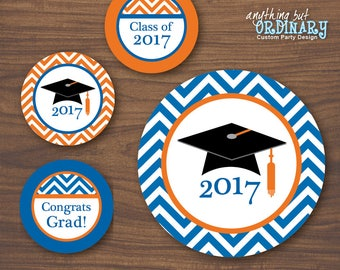 Printable Graduation Centerpiece Signs, 2017 Grad Wall Signs in Blue and Orange, INSTANT DOWNLOAD, DIY digital file