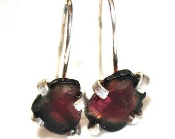 Silver Watermelon Tourmaline Slice Earrings Organic Tourmaline Rainbow Tourmaline Tourmaline Jewelry Free Form Tourmaline Prong Set Earrings