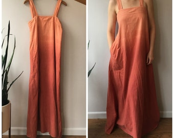 Vintage India Imports Dress - Cotton Summer Maxi - Ombre Dip Dye Sunset - S