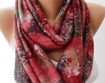 Burgundy Scarf Loop Scarf Paisley scarf Fall scarf Winter scarf Cowl scarf Women's Fashion Accessories Christmas Gift For her