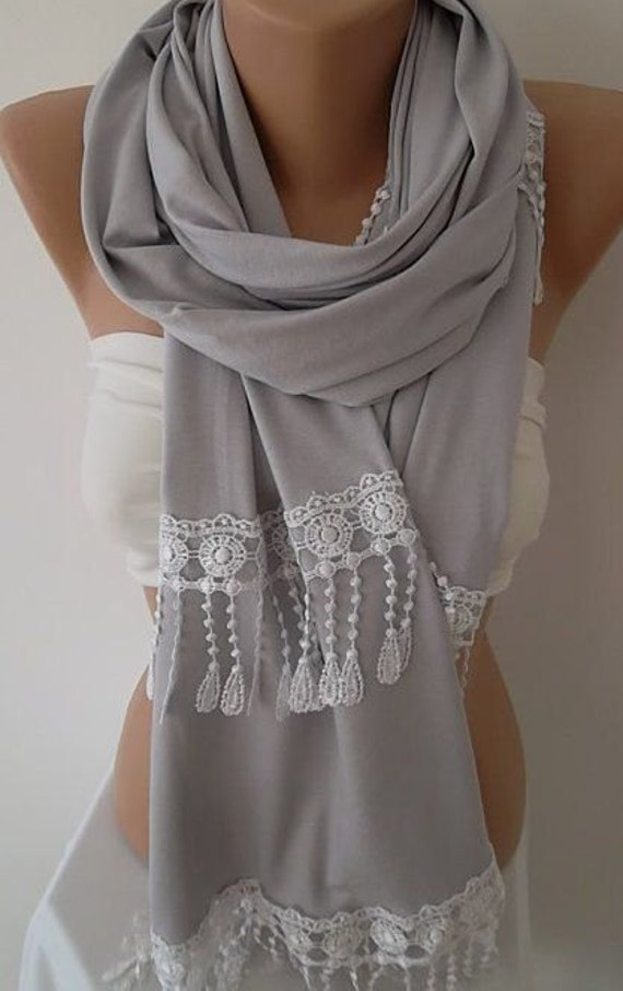 Christmas Gift Holiday Gift Scarf Light Grey Scarf Winter Women Fashion Accessories Christmas Gift For Her