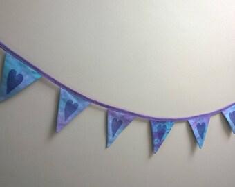 handprinted heart bunting, purple mini bunting, tie dye banner