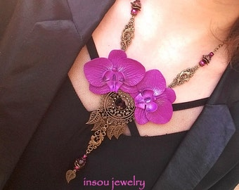 Purple Necklace, Statement Necklace, Orchid Necklace, Flower Necklace, Purple Jewelry, Floral Necklace, Wedding Jewelry, Gift For Women