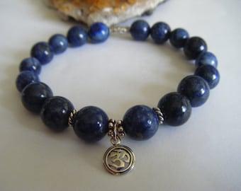 Spiritual Inspirational Healing Lapis Lazuli Bracelet OM Charm Wellness Oneness Gemstone Eco Beads Awareness Yoga Meditation Universe Love
