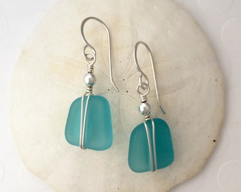 Sterling Silver and Aqua Sea Glass Earrings, wire wrapped
