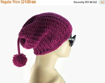 Gift For Mom Women's Knit Hat, Slouchy Hat Beanie, Burgundy color  Beanie with pompom- Hand knit beanie hat , Gift For Her