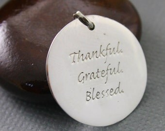 Sterling Silver Gratitude Charm / Pendant with Jump Ring,/Wish Charm Jewelry Component, (SS/CH5/CR36)