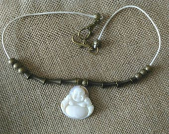 ORIGINAL  necklace: mother of pearl smiling Buddha pendant on leather cord