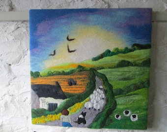 wet felted picture on canvas. Large textile wall art