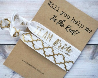 White/Gold Bridemaid Gift 2 pcs set - Will you help me tie the knot- Bridesmaid Proposal Gift- Wedding/Bridesmaid/Gift/Wedding Party