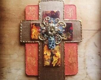 CROSS Crosses handmade found object mixed media christian religious wall decor cross