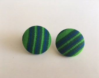 Green African Fabric Button Earrings/Circle Earrings