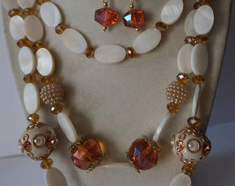 Topaz and Ivory Three Strand Necklace Set