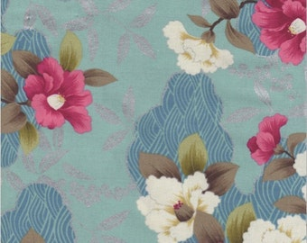 Quilt Gate Fabrics, Cream and Rose Asian Floral print on Teal and Blue