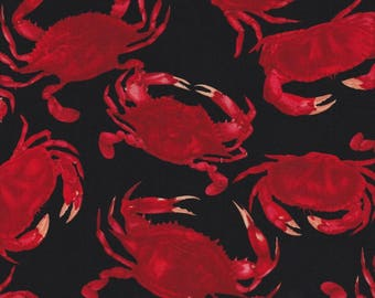 Timeless Treasures Fabric, Red Crab, Red Crabs on Black, 100% cotton