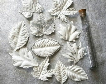 White PAPER LEAVES, Prima Flowers, White Paper Foliage, Mulberry Paper Leaves, Prima Crisp Foliage, Woodland Paper Leaves, Woodland Decor