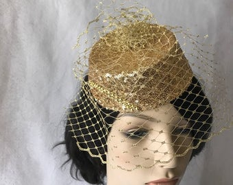 Gold Fascinator Hat with Gold Birdcage veil, Gold Kentucky Derby Fascinator, Gold Wedding Fascinator, Gold Mini Pillbox Tea Party Hat