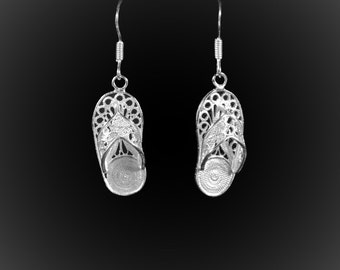 Earrings Out of Office in silver embroidery