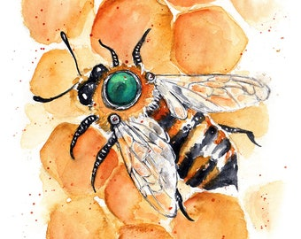 4x6 Note Card - Clockwork Bee XXVII