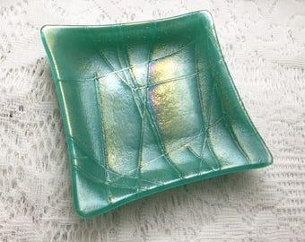 Fused Glass Dish, Iridescent Teal Green Art Glass Dish, Decorative Trinket Tray