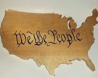 We The People, United States, United We Stand, Wood Carving, Patriotic Statement, Scroll Saw Artwork, The Preamble, Patriotic Sign, America
