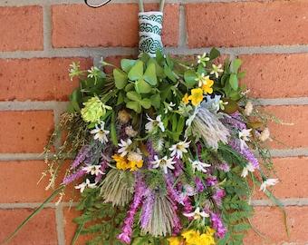 St Patricks Irish Wildflower Floral Swag, Ireland floral Wreath, Irish Summer, Shamrock, clover, thistle, Irish Primrose
