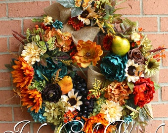 Large Rustic Teal Tuscan Elegance Wreath, Summer Wreath, French Country Floral, Poppy & Sunflower Wreath, Everyday Wreath, Kitchen Wreath