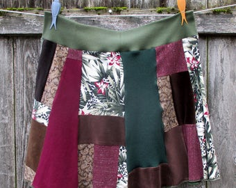 Patchwork Hippie Skirt - T Shirt Skirt - Plus Size Clothing - Eco Gypsy Style - 1X 2X 3X - Eclectic Apparel - Rose Magenta Sage -  Handmade