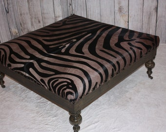 Rustic Dark Walnut Zebra Print Cowhide Ottoman